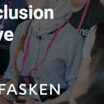 The text 'The Inclusion Initative in partnershup with bdc and Fasken' in front of audience members