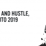 'Haste and Hustle, Toronto 2019' text with a microphone