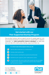 Rise Peer Supported StartUp Program Poster