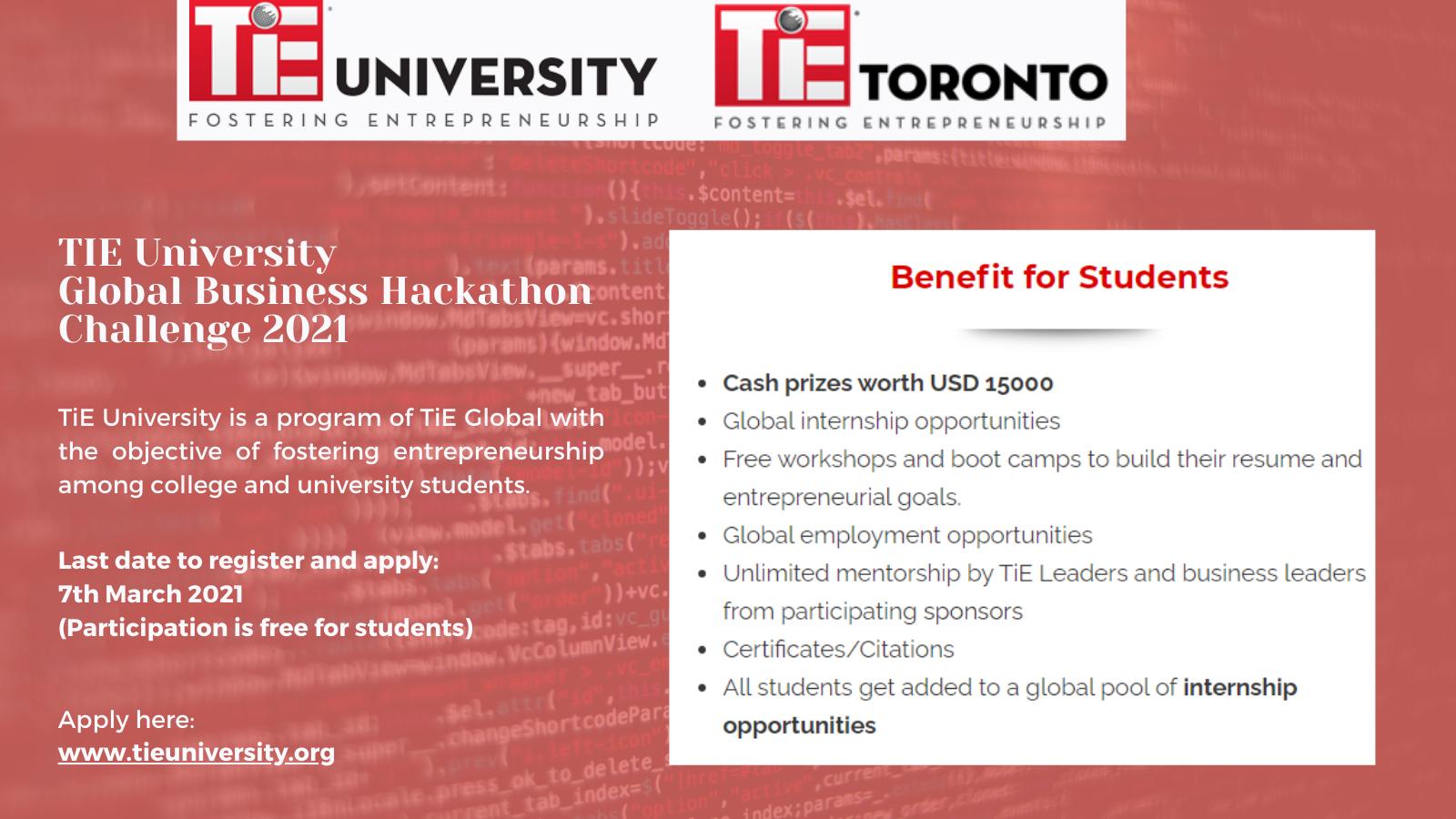 TiE University Global Business Hackathon Challenge 2021